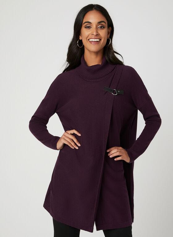 Cowl Neck Wrap Sweater, Purple, hi-res