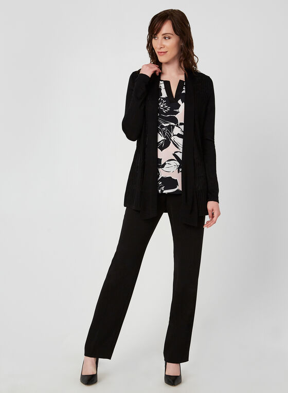 Open Front Pointelle Cardigan, Black