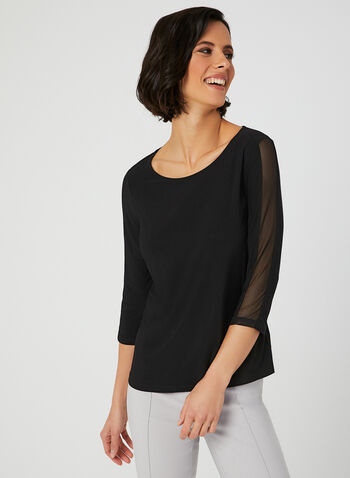 Mesh Detail Jersey Top, Black, hi-res