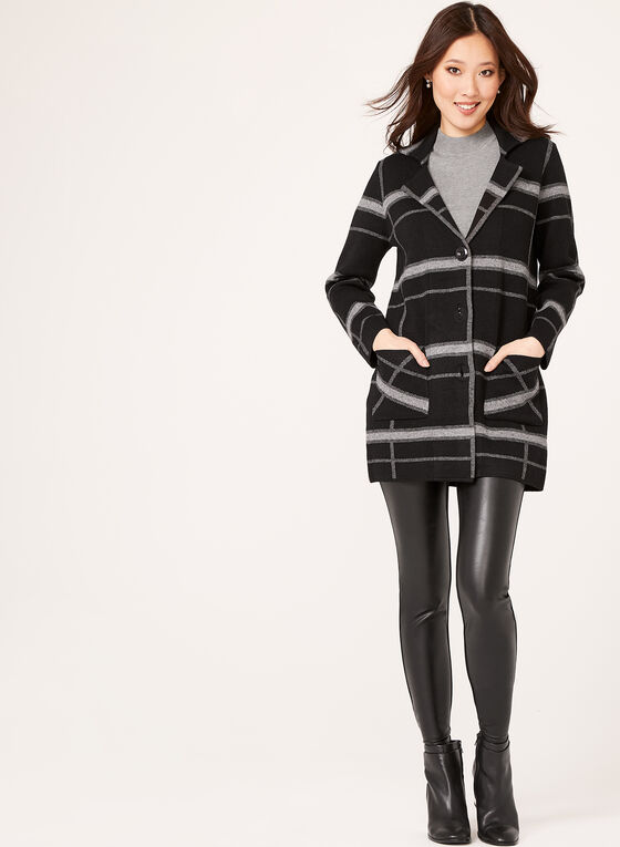 Plaid Knit Button Front Cardigan, Black, hi-res