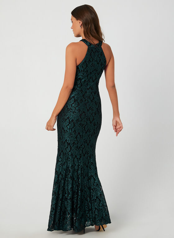 Glitter Lace Gown, Green