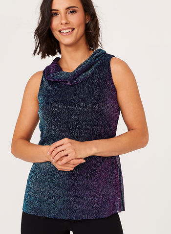 Sleeveless Metallic Turtle Neck Top    , Multi, hi-res