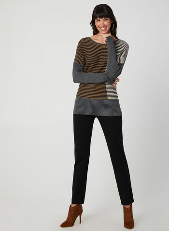 Colour Block Knit Top, Brown,  fall 2019, winter 2019, ribbed, long sleeves, stretchy, colour block