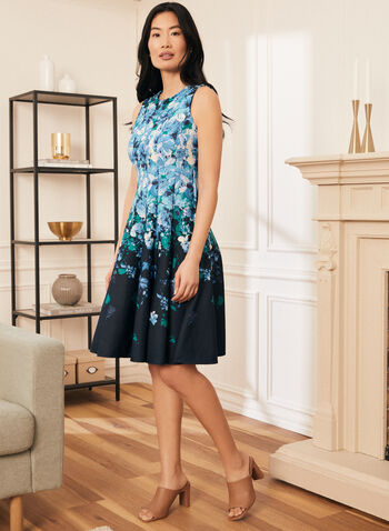 Floral Print Fit & Flare Dress, Blue,  dress, floral, sleeveless, panelled, fit flare, spring summer 2021