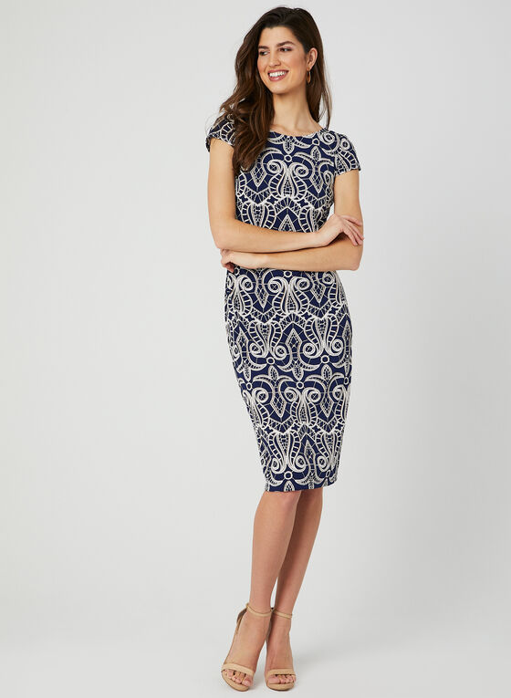 Textured Print Jersey Dress, Blue, hi-res