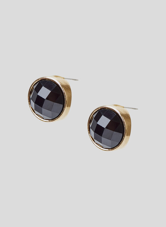 Faceted Stone Stud Earrings, Black, hi-res