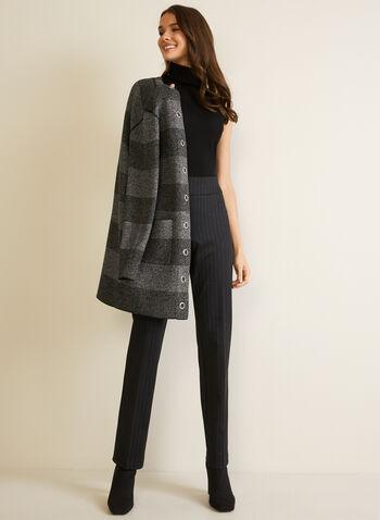 Pantalon jambe droite à enfiler, Noir,  automne hiver 2020, pantalon, à enfiler, pull-on, taille élastique, jambe droite, motif, rayures, rayé, point de Rome