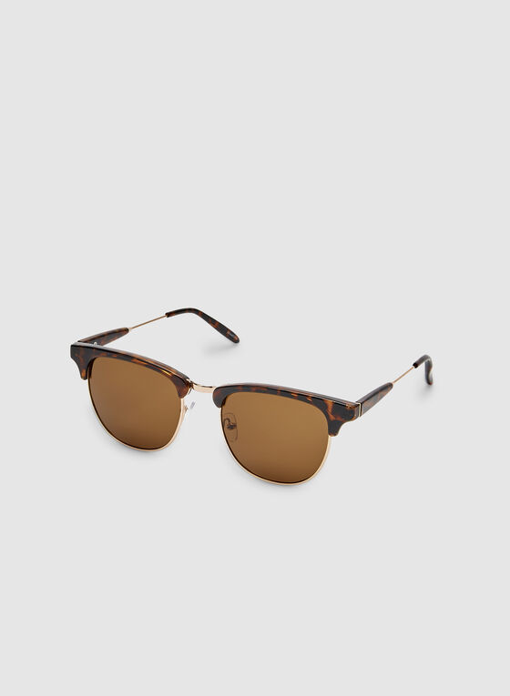 Retro Tort Sunglasses, Brown, hi-res
