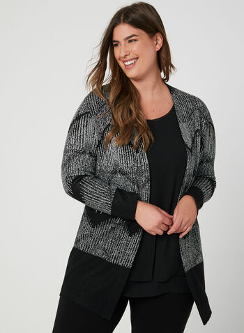 Zigzag Print Knit Cardigan, Black, hi-res,  knit, long sleeves, zigzags, open front, fall 2019, winter 2019
