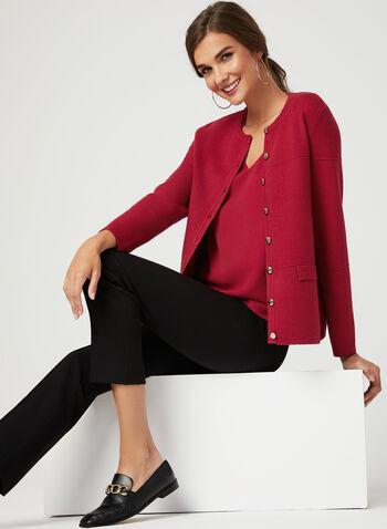 Cardigan boutonné en tricot, Rouge, hi-res