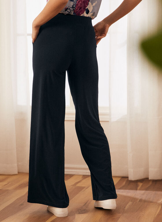 Wide Leg Pull-On Pants, Blue