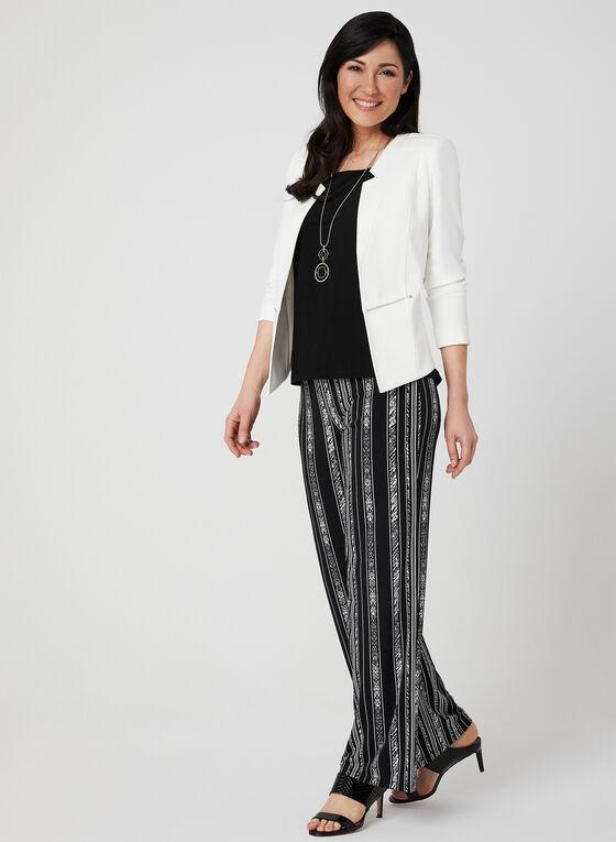 Stripe Print Wide Leg Pants, Black