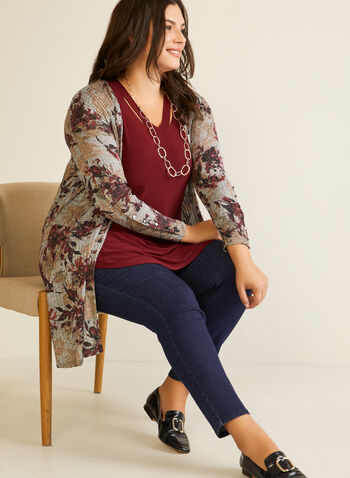 Floral Print Open Front Top, Purple,  fall winter 2020, top, open, long sleeves, 3/4 sleeves, floral print, buttons, knit, made in canada