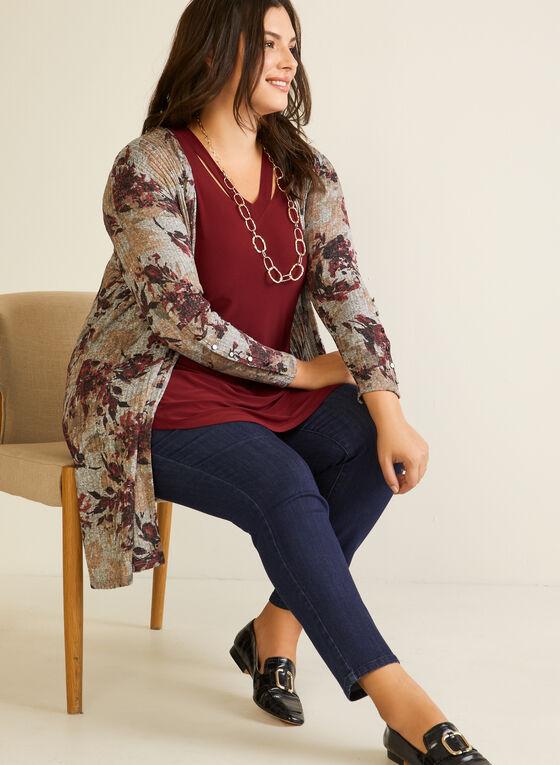 Haut ouvert en tricot à motif floral, Violet