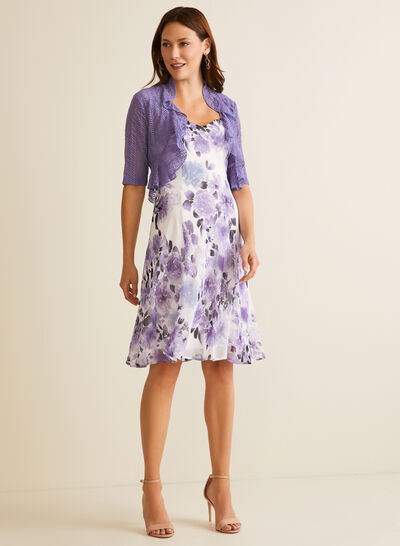 Floral Print Dress & Cardigan