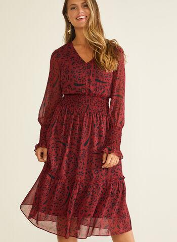 Smocked Detail Chiffon Dress, Red,  dress, chiffon, paisley, ruffled, smocked, v-neck, midi, fall winter 2020