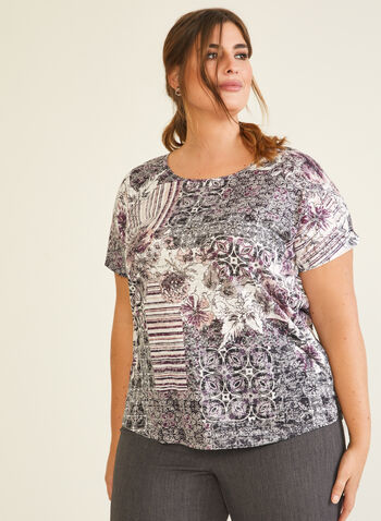 Patchwork Print T-Shirt, Purple,  t-shirt, short sleeves, scoop neck, patchwork, fall winter 2020