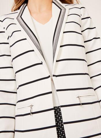 Blazer à rayures et col avec détail en maille, Blanc, hi-res