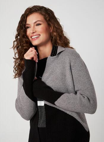 Cardigan long à blocs de couleurs, Noir, hi-res,  cardigan ouvert, manches longues, tricot, col cranté, automne hiver 2019