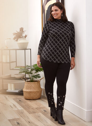 Chain Print Turtleneck Top, Black,  made in Canada, top, blouse, long sleeves, turtleneck, chain print, fall winter 2021