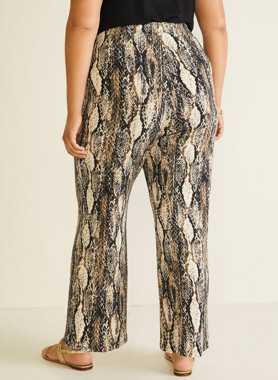 Snake Print Wide Leg Pants, Black