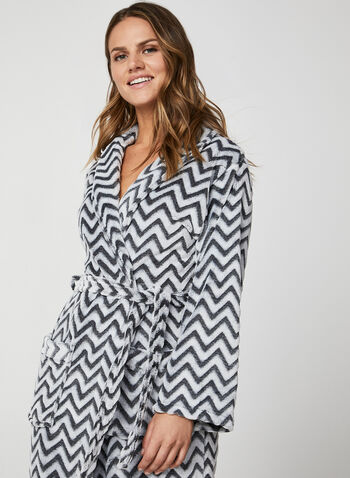 Karmilla Lingerie - Belted Bathrobe, Black,  bathrobe, sleepwear, pyjama, chevron, zigzag, fall 2019, winter 2019
