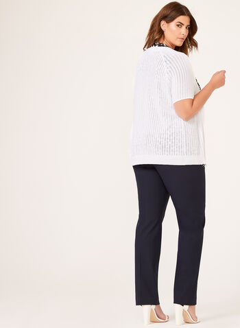 Short Sleeve Pointelle Knit Cardigan, White, hi-res