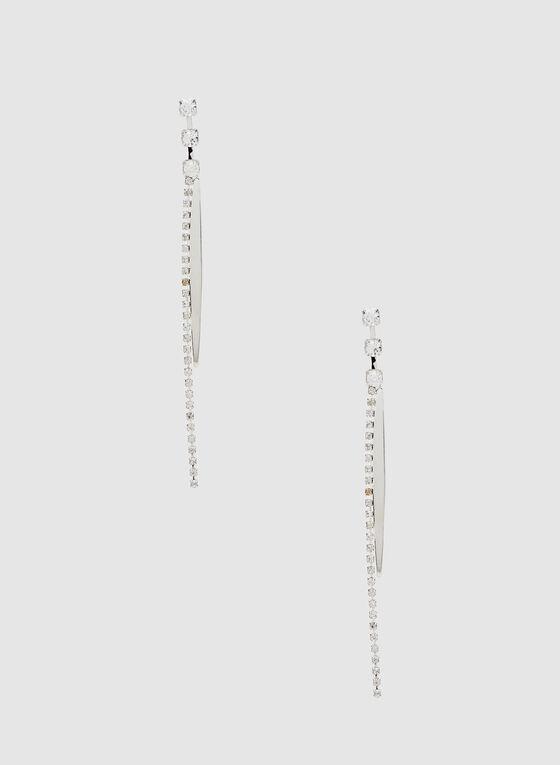Boucles d'oreilles allongées à cristaux, Argent, hi-res