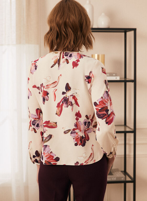 Floral Print 3/4 Sleeve Blouse, White