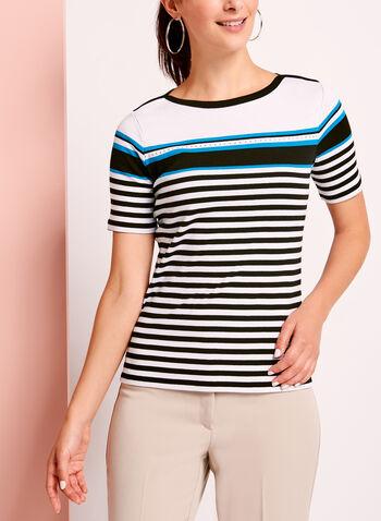Embellished Stripe Cotton T-Shirt, , hi-res
