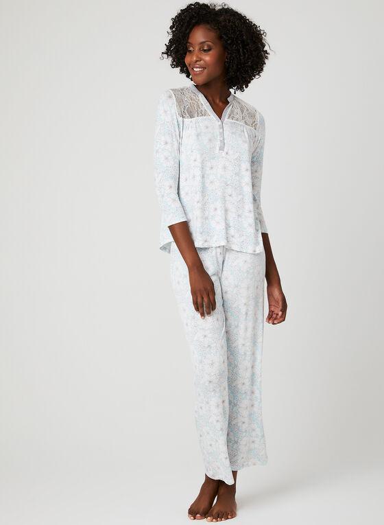 René Rofé - Lace Detail Jersey Pyjama, Grey, hi-res