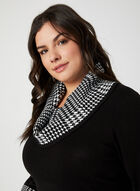 Houndstooth Print Cowl Neck Sweater, Black
