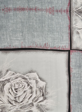 Foulard à imprimé de roses, Gris, hi-res