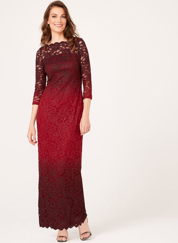 Ombré Glitter Lace Gown, Red, hi-res