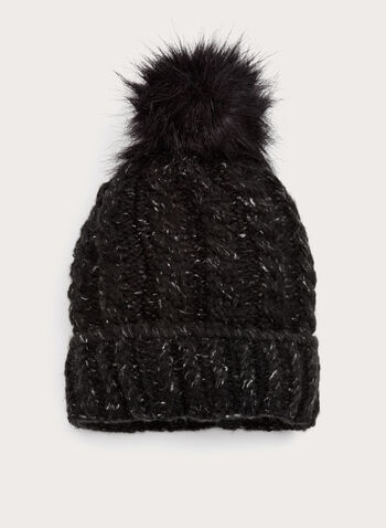 Cable Knit Pompom Hat, Black, hi-res