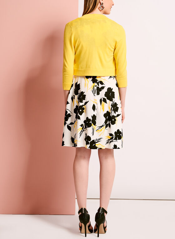 Floral Print Fit & Flare Dress with Bolero, Yellow, hi-res