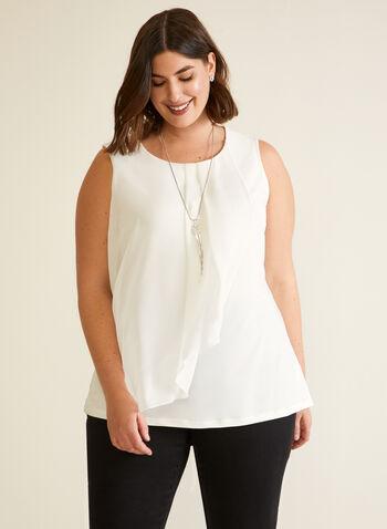 Sleeveless Ruffled Top, White,  fall winter 2020, top, sleeveless, blouse, chiffon, round neck, drape, ruffles, jersey, muslin, made in Canada