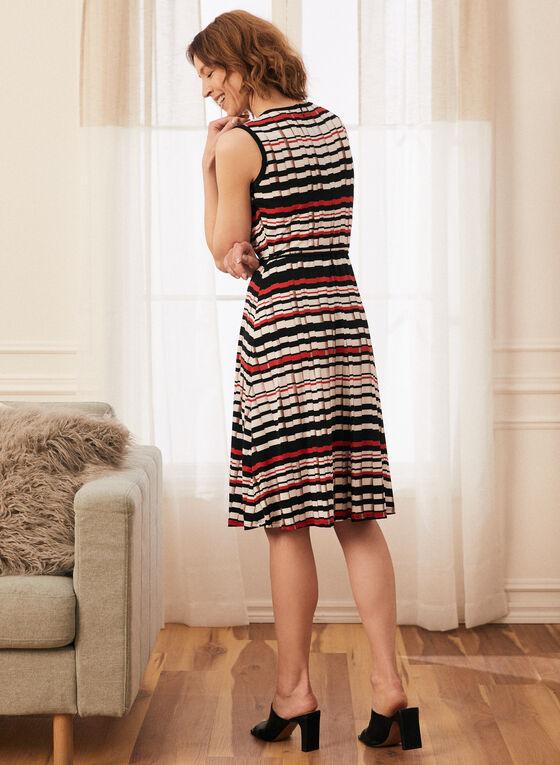 Stripe Print Sleeveless Day Dress, Black