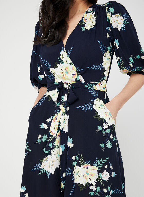 Floral Print Romper, Blue, hi-res
