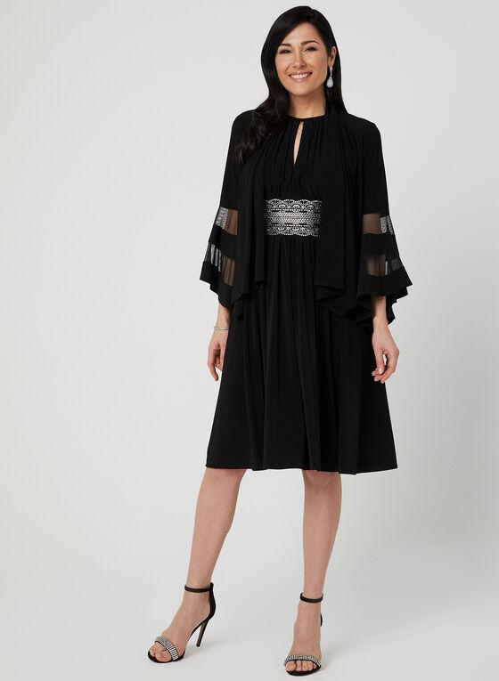 Robe à col ras-du-cou et taille ornementée, Noir