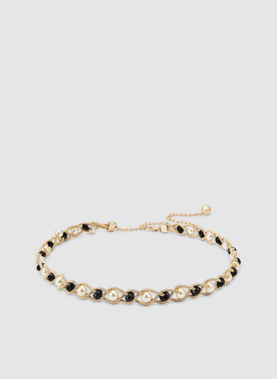 Braided Pearl Belt, Gold