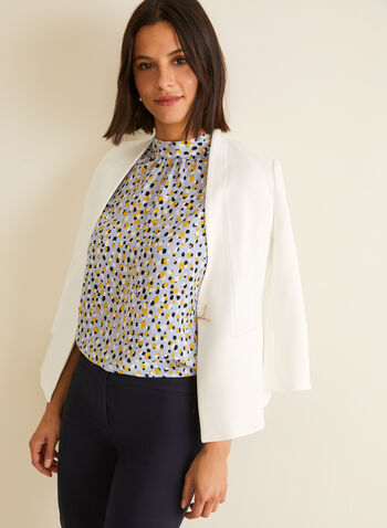Dot Print Sleeveless Blouse, Blue,  blouse, top, sleeveless, dot print, high neck, spring 2020