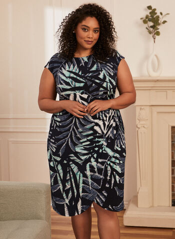 Tropical Print Dress, Blue,  spring summer 2021, dress, tropical, print, scoop neck, short sleeve, cap sleeve, knot detail, gathered effect, comfort, stretch, jersey