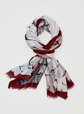 Brick Print Scarf, Red, hi-res