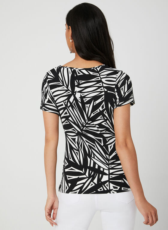 Abstract Print Jersey Top, Black