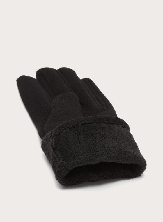Gants avec tweed aux poignets et pompon, Noir, hi-res