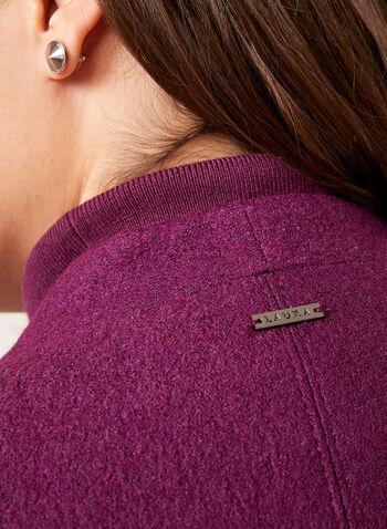 Veste courte en laine bouillie avec poches zippées, Violet, hi-res