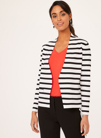 Tribal - Stripe Print Open Front Cardigan, White, hi-res