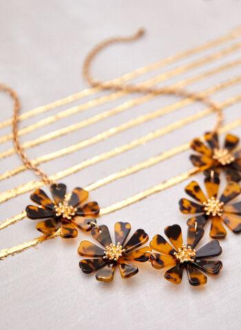 Collier à chaîne dorée et fleurs en résine mouchetée, Multi,  accessoire, bijou, collier, court, chaîne dorée, fleurs, résine mouchetée, mousqueton, printemps été 2021