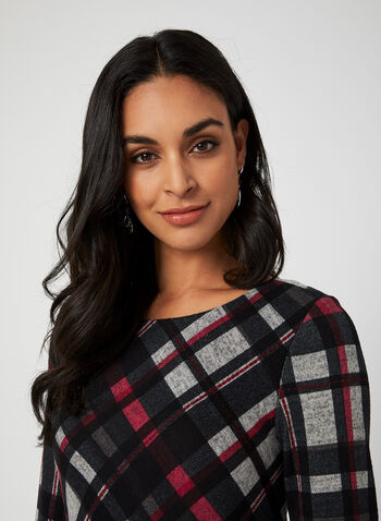 Plaid Bell Sleeve Dress, Black, hi-res,  dress, day dress, 3/4 sleeves, long sleeves, bell sleeves, plaid, fall 2019, winter 2019